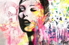 """Les Yeux Fermes, Souvent"" Eyes Closed Often, Colorful, Abstract Street Art"