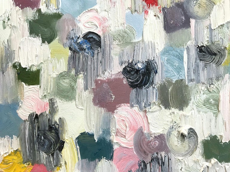 Dripping Dots, Springtime in Rome - Gray Abstract Painting by Cindy Shaoul
