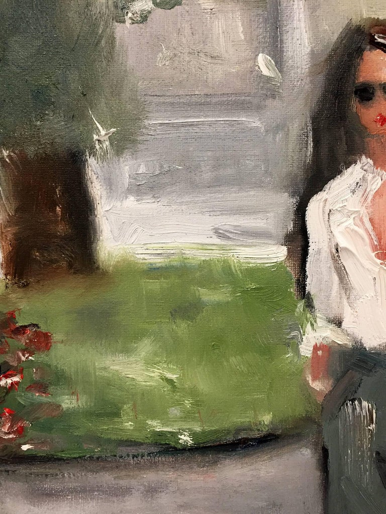 Stepping Out, Saint Tropez - Gray Figurative Painting by Cindy Shaoul