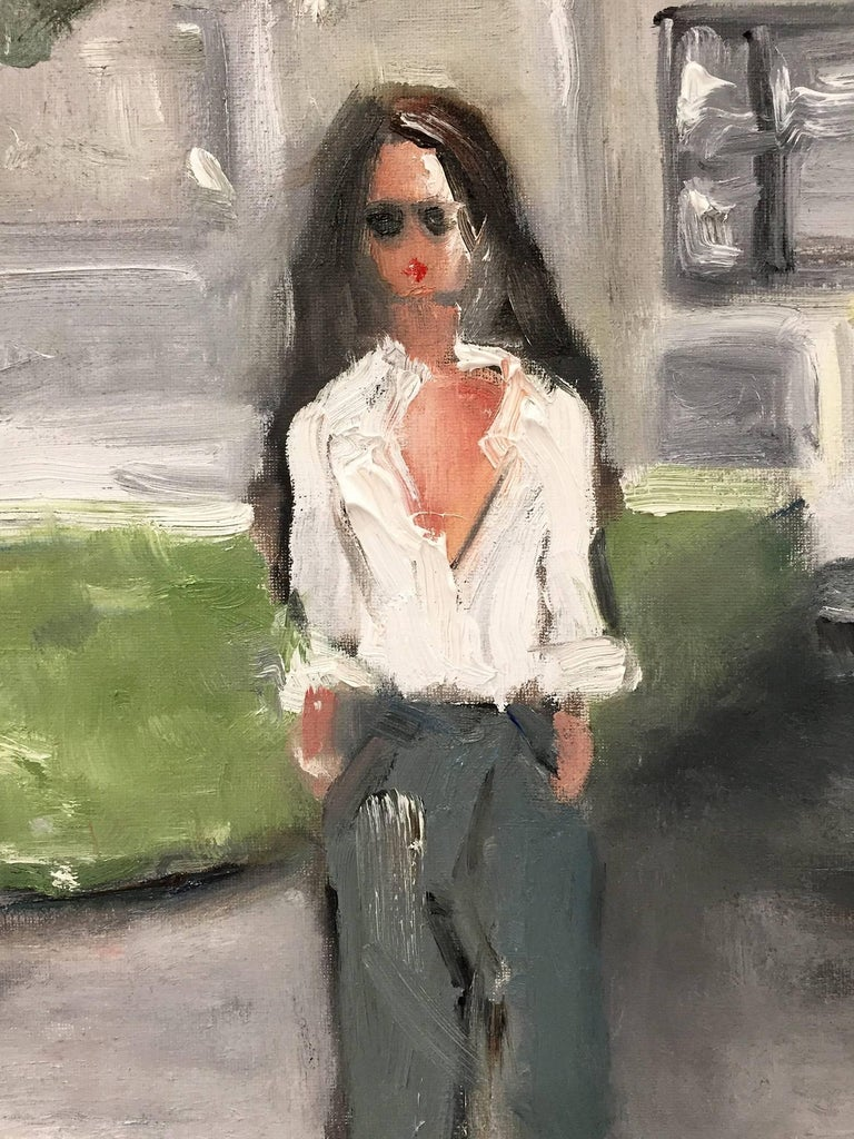 Stepping Out, Saint Tropez - Painting by Cindy Shaoul