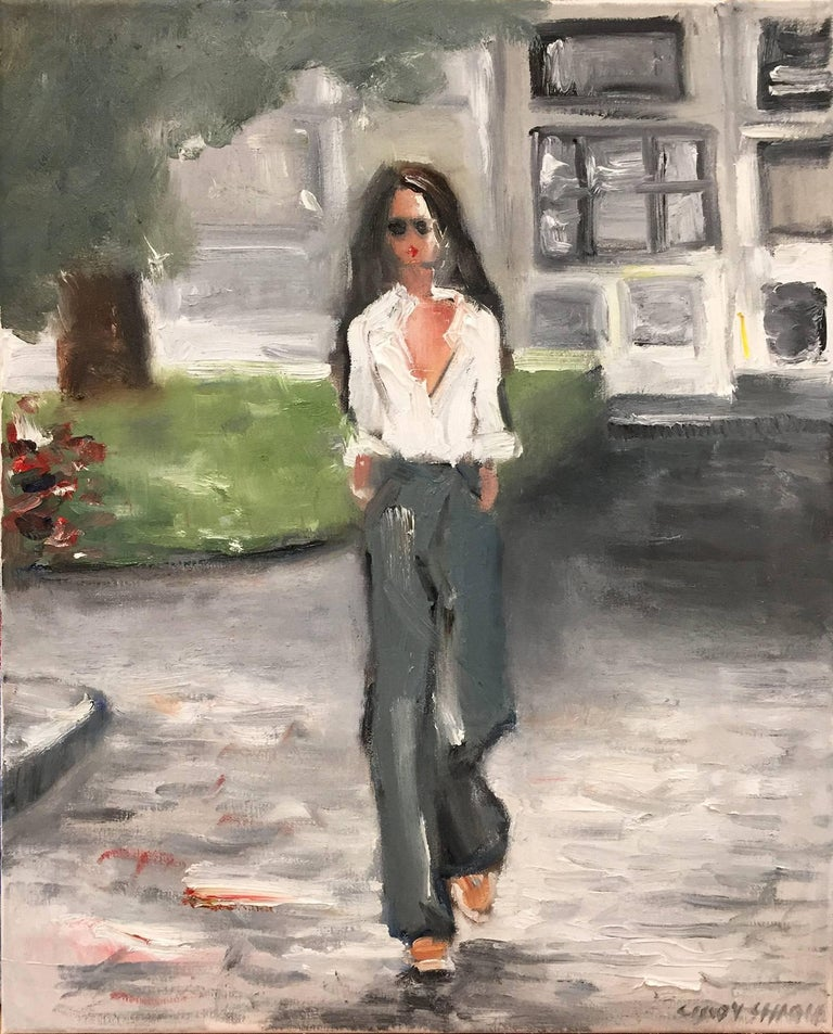 Cindy Shaoul Figurative Painting - Stepping Out, Saint Tropez