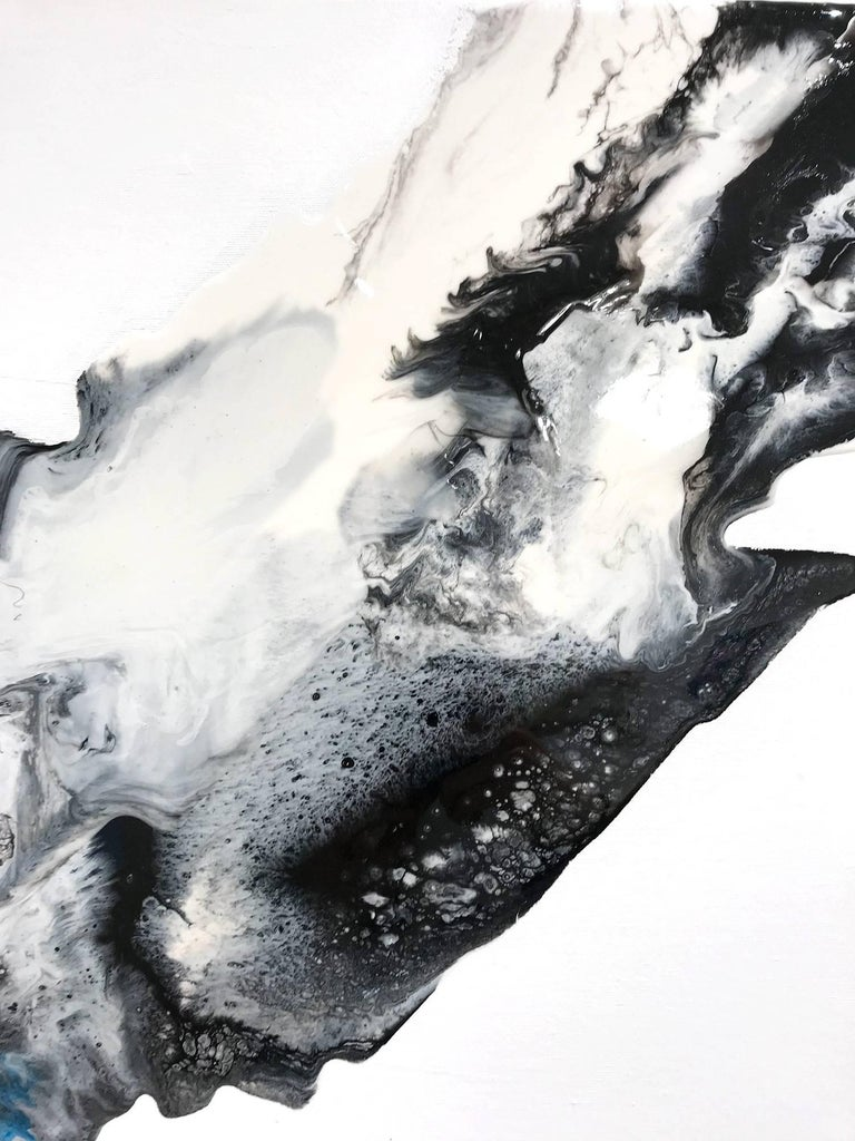 Rokuro - Gray Abstract Painting by Corinne Natel