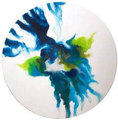 """Luana"" Contemporary Colorful Fluid Mixed Media Painting on Circular Canvas"