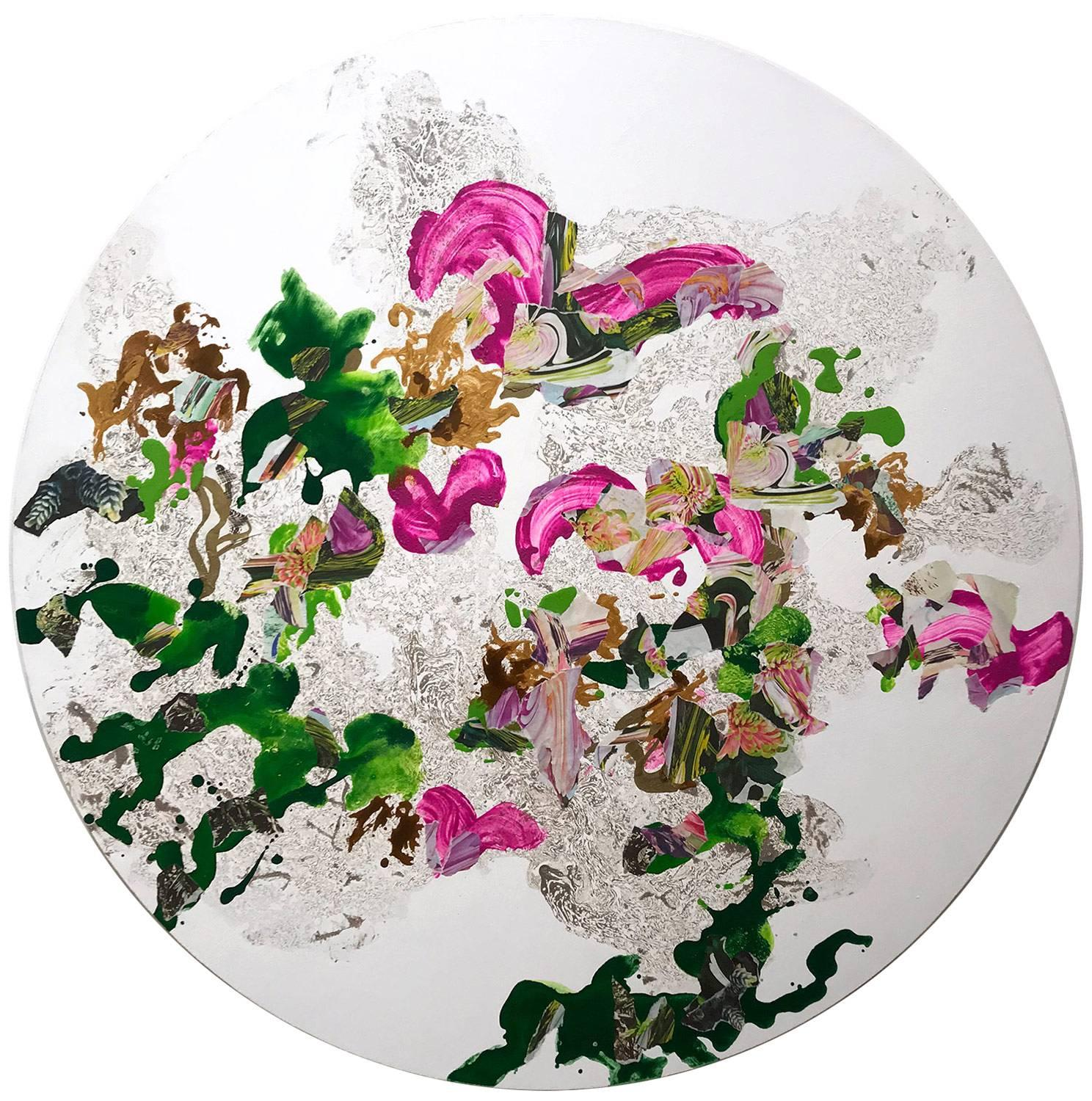 """""""Paradise"""" Contemporary Colorful Fluid Mixed Media Painting on Circular Canvas"""
