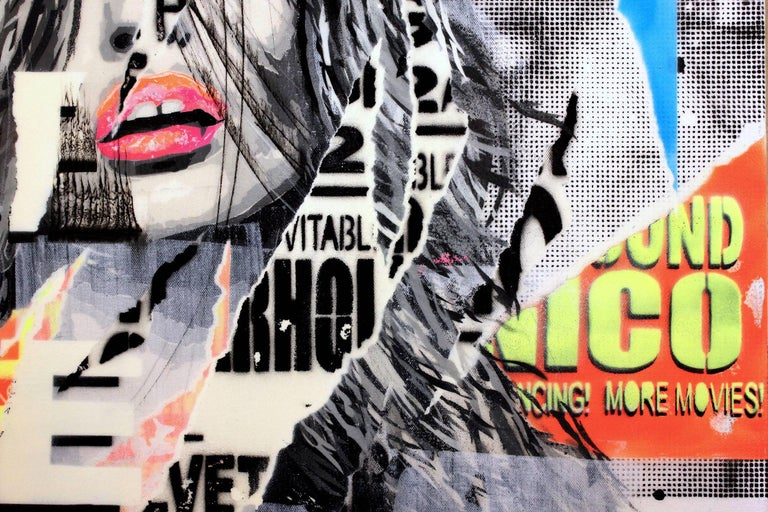 A vibrant pop piece depicting Georgia Jagger with bright blues, neons, and orange. The artist is able to juxtapose fashion trends elegantly with stencils to write