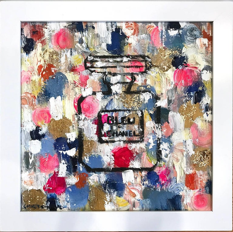 Cindy Shaoul Abstract Painting - Dripping Dots, Summer in Bleu de Chanel