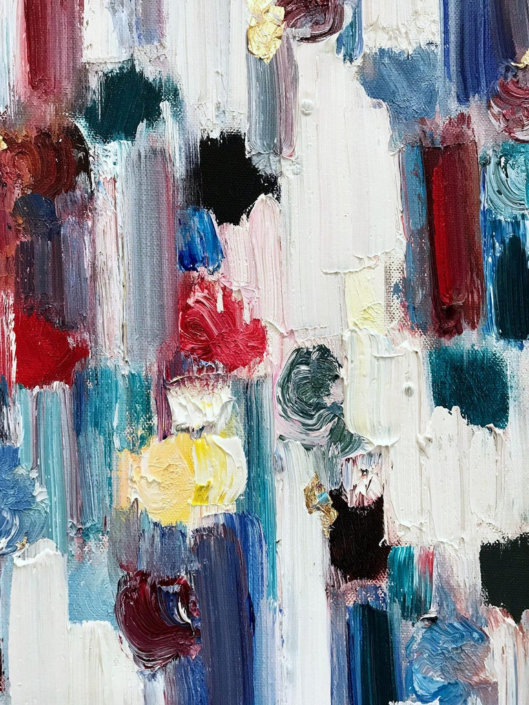 Dripping Dots, Regent's Park, London - Gray Abstract Painting by Cindy Shaoul