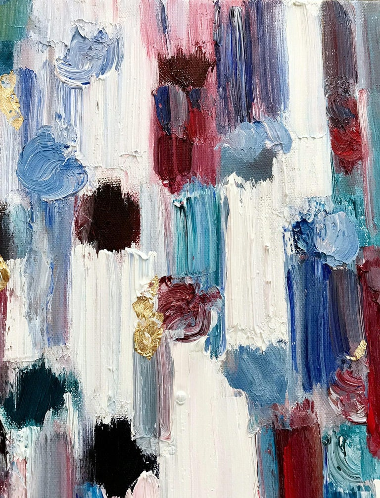 With layers of bright oils and whisking brush strokes, the paint is able to shine and shimmer in a very unique pattern. This painting is from Shaoul's more modern collective works with a very decorative contemporary style. The way the paint blends