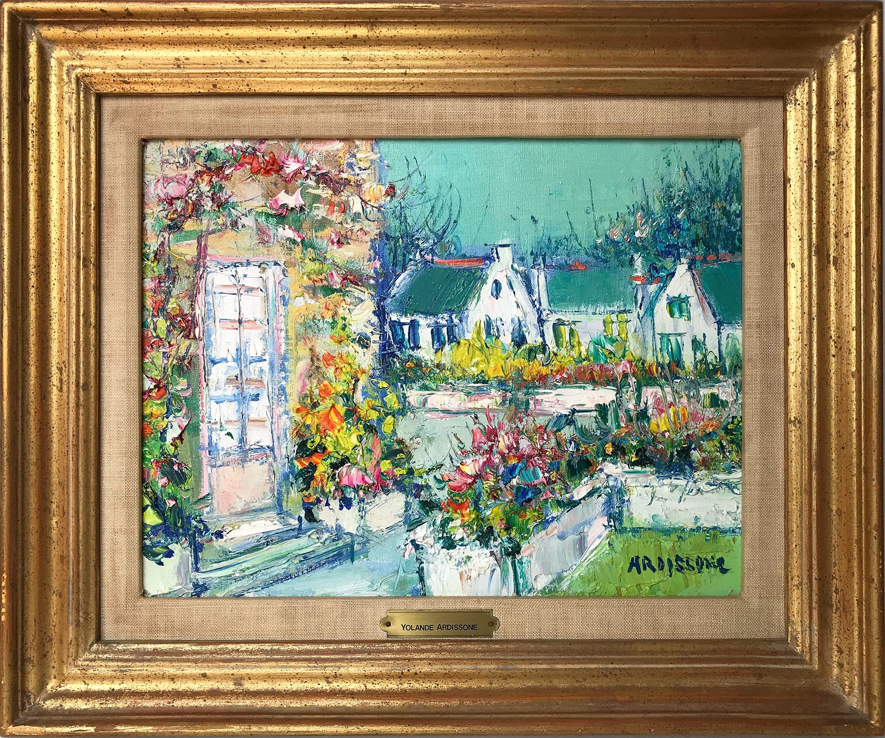 """""""Village Scene with Houses and Courtyard"""" Impressionist Landscape Oil Painting"""