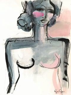 Rose Quartz in Paris, Modern Nude on Paper