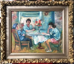 Figures Seated around a Table with Flowers, Impressionistic Oil Painting
