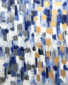 Dripping Dots, Crete Greece, Gold and Silver, Abstract, Oil Painting