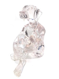 """Lolly Dogman (Clear)"" Pop Art Clear Polyresin Sculpture of Dogman Sitting Down"