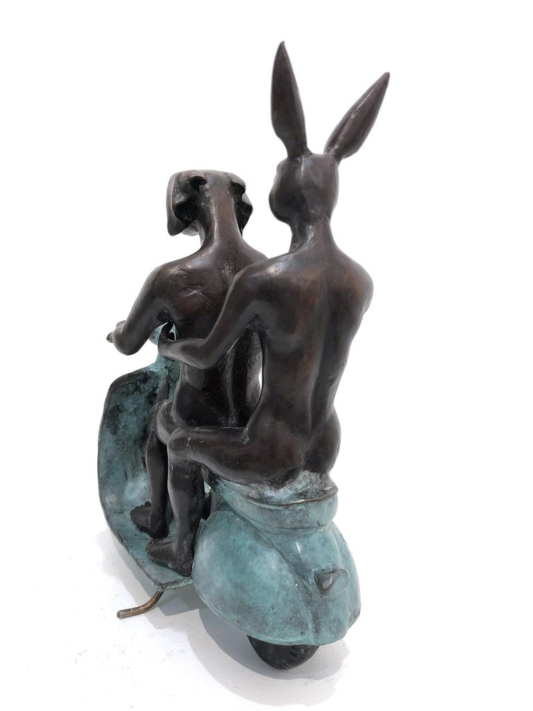 They were the Authentic Vespa Riders in Rome (Bronze with Green Patina) - Gold Abstract Sculpture by Gillie and Marc Schattner