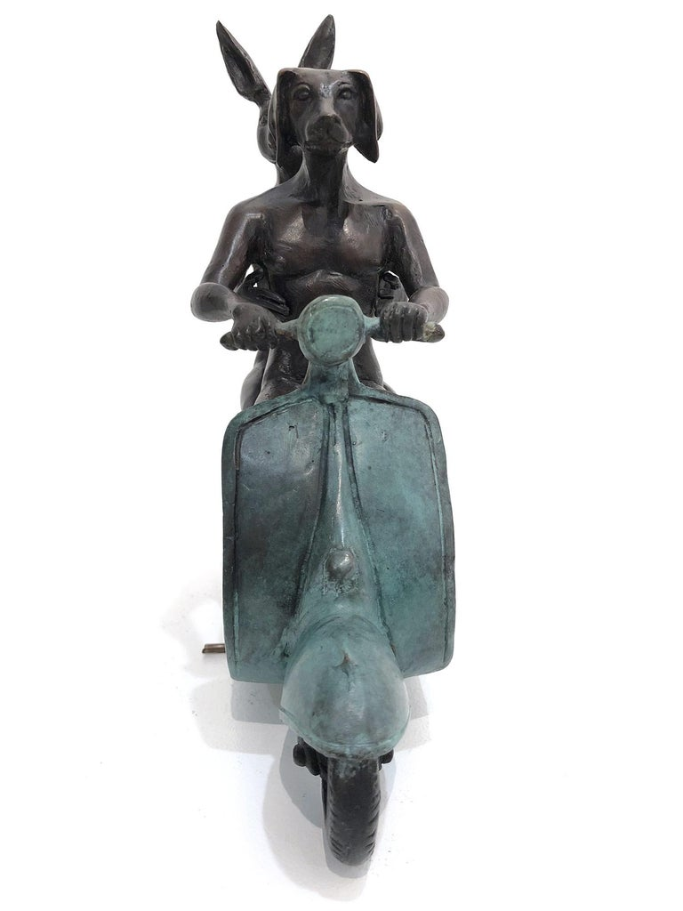 They were the Authentic Vespa Riders in Rome (Bronze with Green Patina) For Sale 5