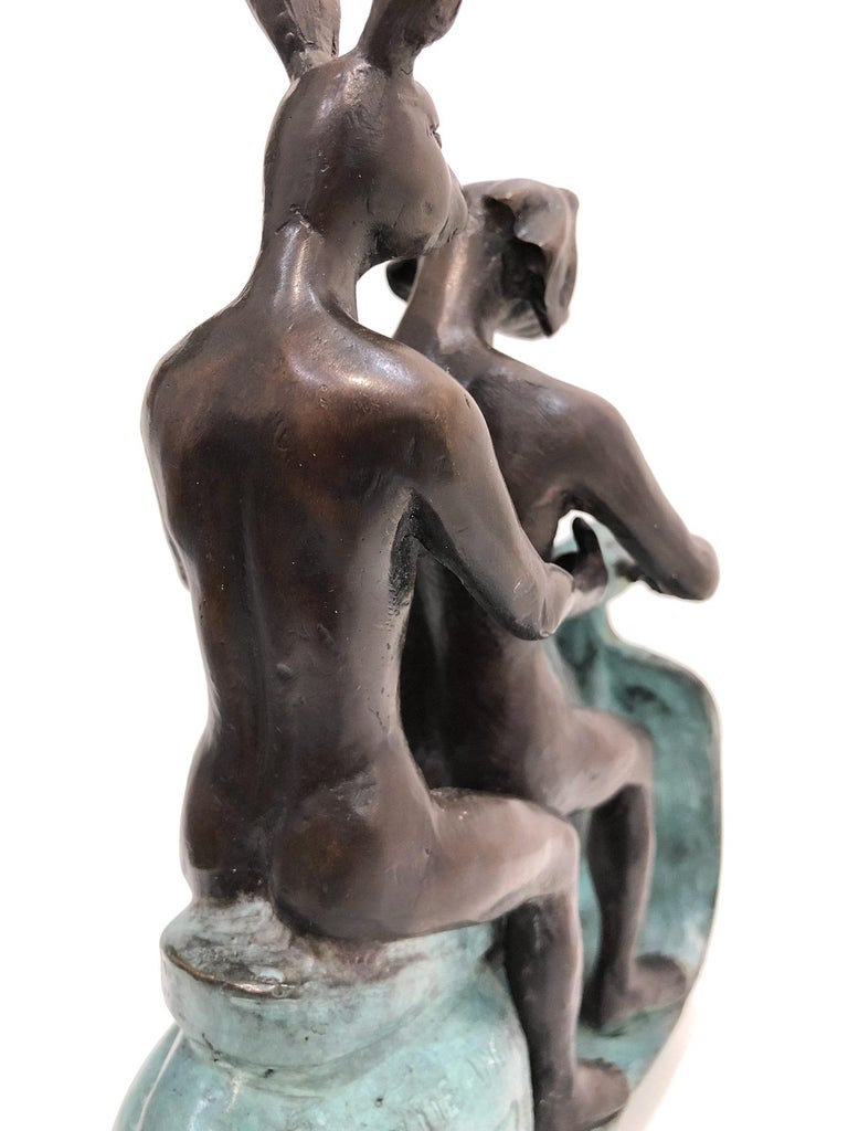 They were the Authentic Vespa Riders in Rome (Bronze with Green Patina) For Sale 9