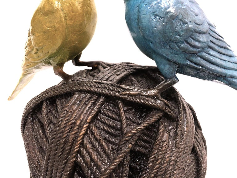 Life's a Ball (2 Budgies on a Ball), Bronze Abstract Sculpture For Sale 14