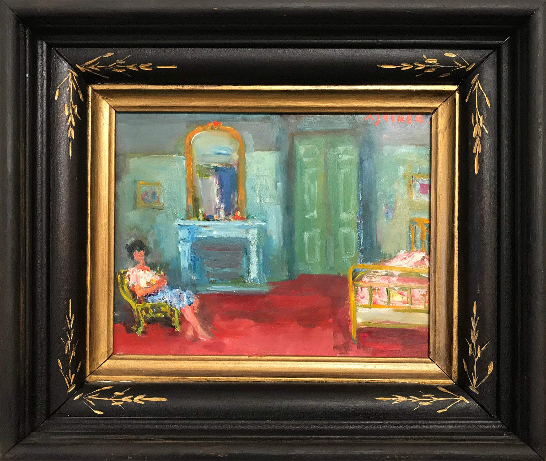 """""""Interior Scene with Figure and Mantel"""" Post-Impressionism Oil Painting on Panel"""