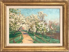 """""""Blossoming Dogwood Trees"""" Impressionist Landscape Oil Painting on Canvas"""