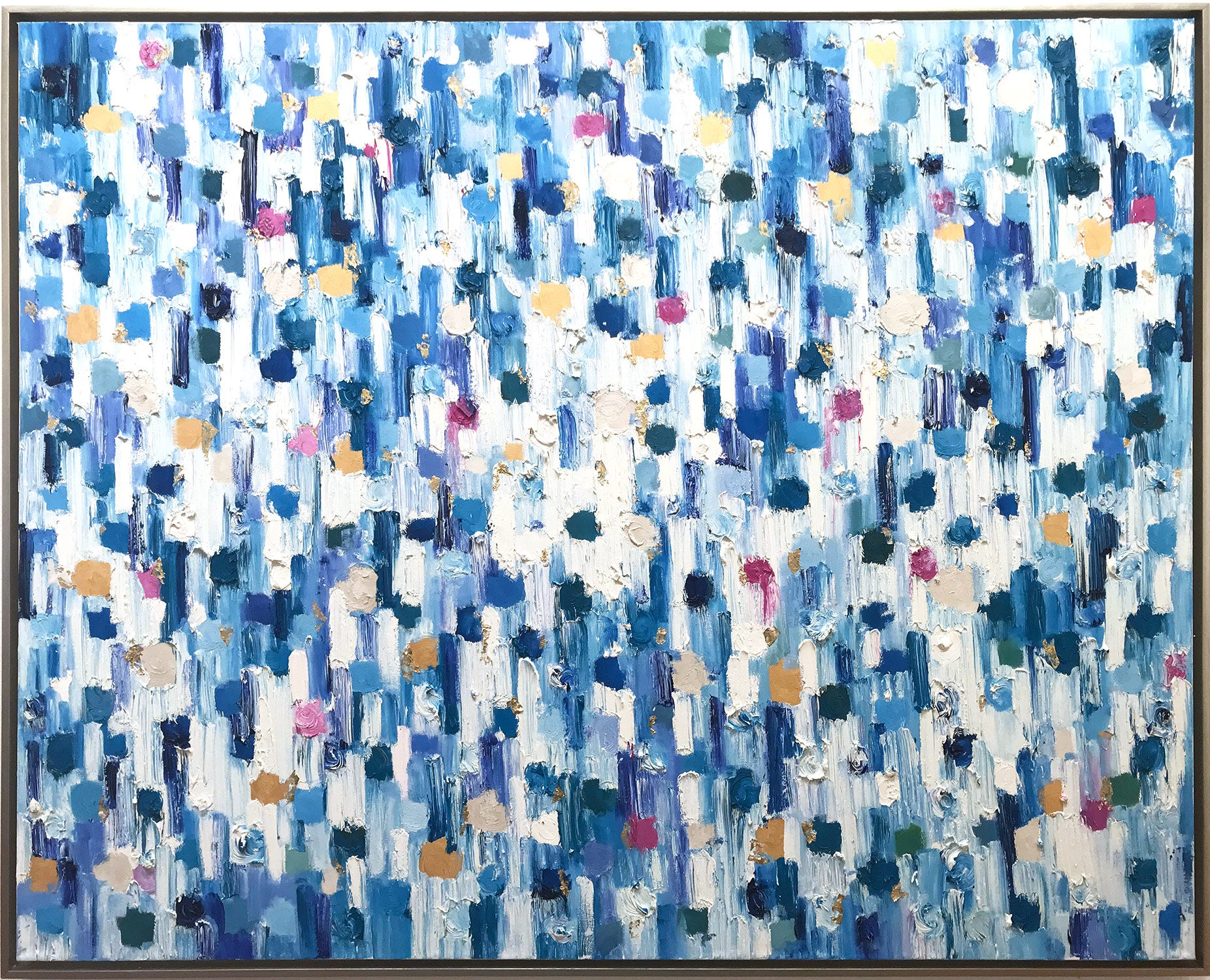 """""""Dripping Dots, Saint-Tropez"""" Colorful Contemporary Abstract Oil Painting"""