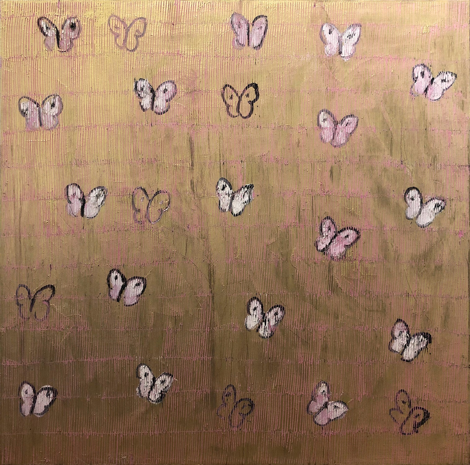 """""""Pink Ascension"""" White and Pink Butterflies with Gold Background on Canvas"""