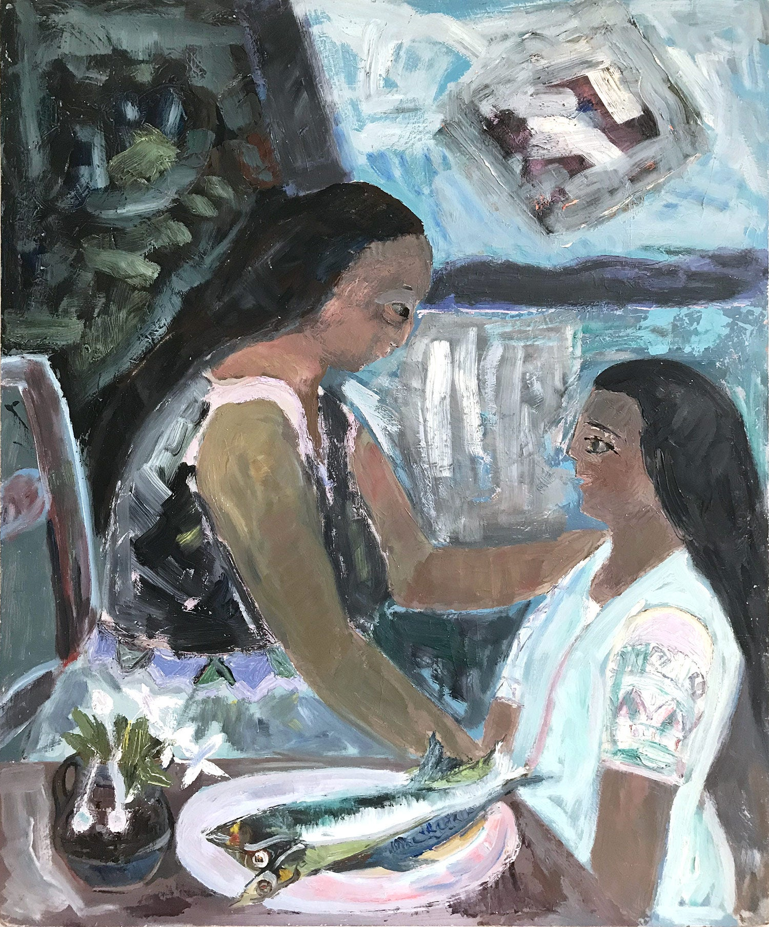 """""""Mexican Interior Scene Scene with Figures and Fish"""" Expressionistic Style"""