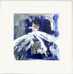 """""""Madison"""" Abstract Figure with Gown French Haute Couture Oil Painting on Paper"""