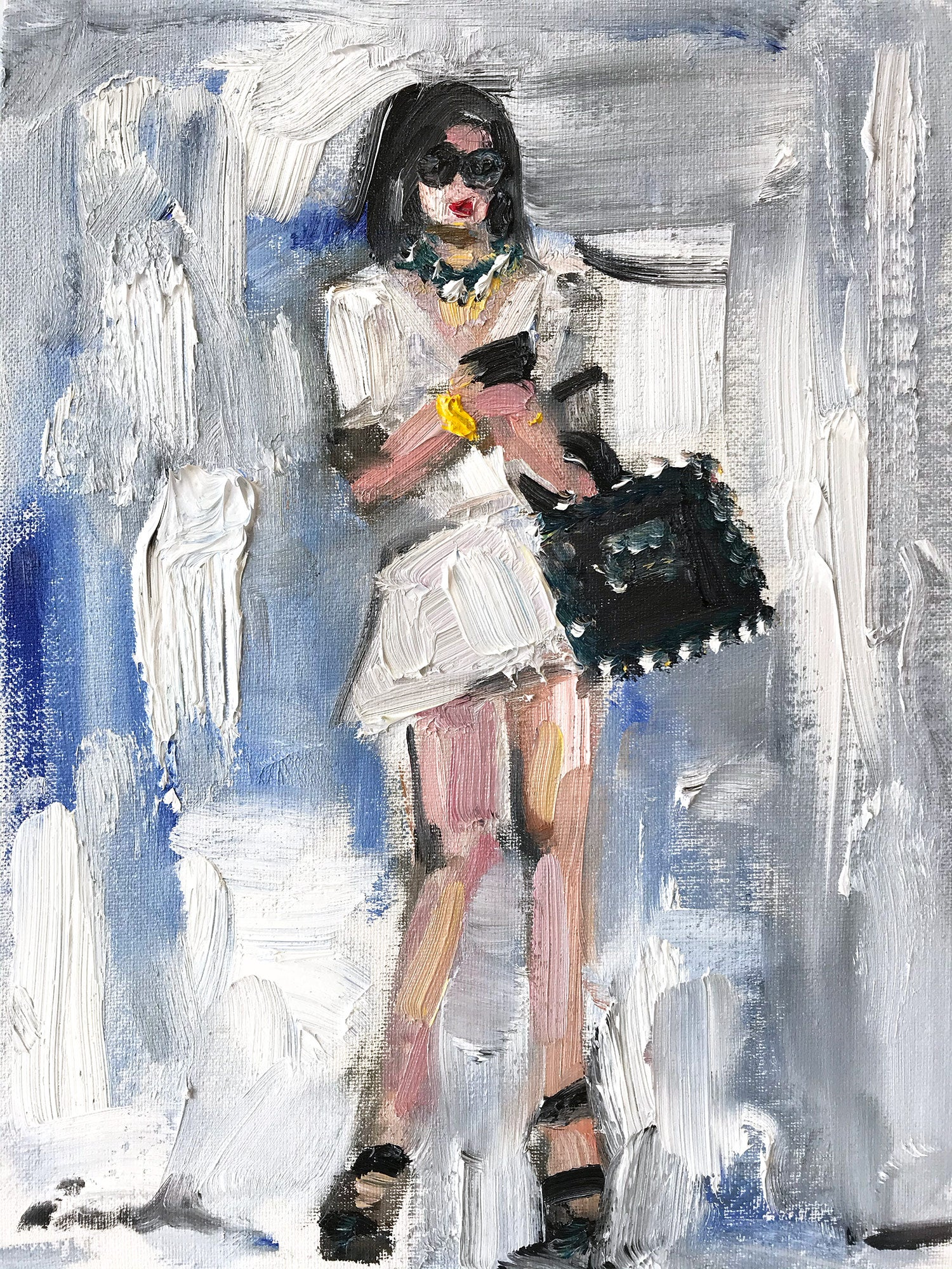 """""""Missy"""" Abstract Figure with Chanel Bag French Haute Couture Oil Painting"""