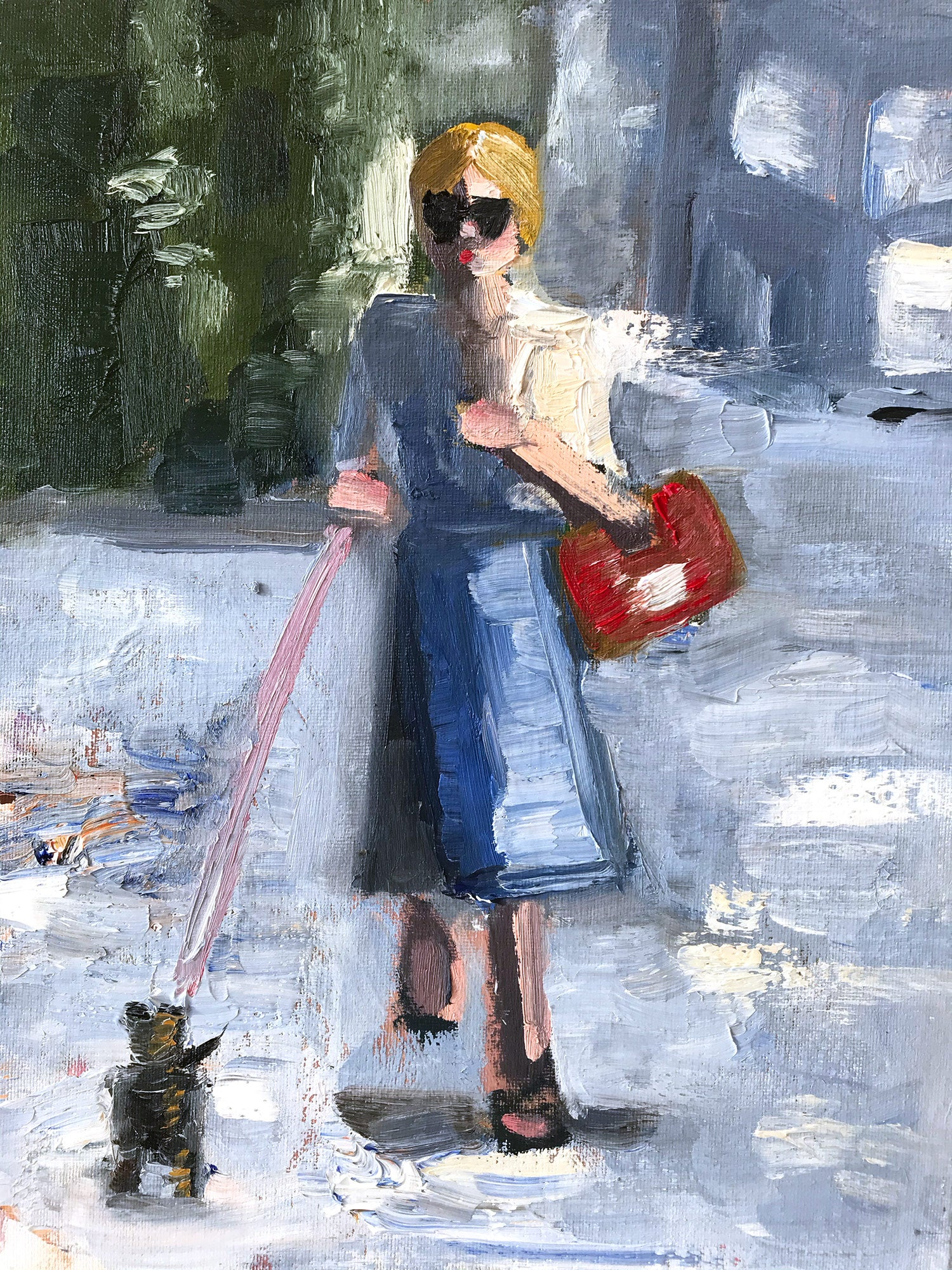 """""""Mary Kate"""" Abstract Figure with Chanel Bag French Haute Couture Oil Painting"""