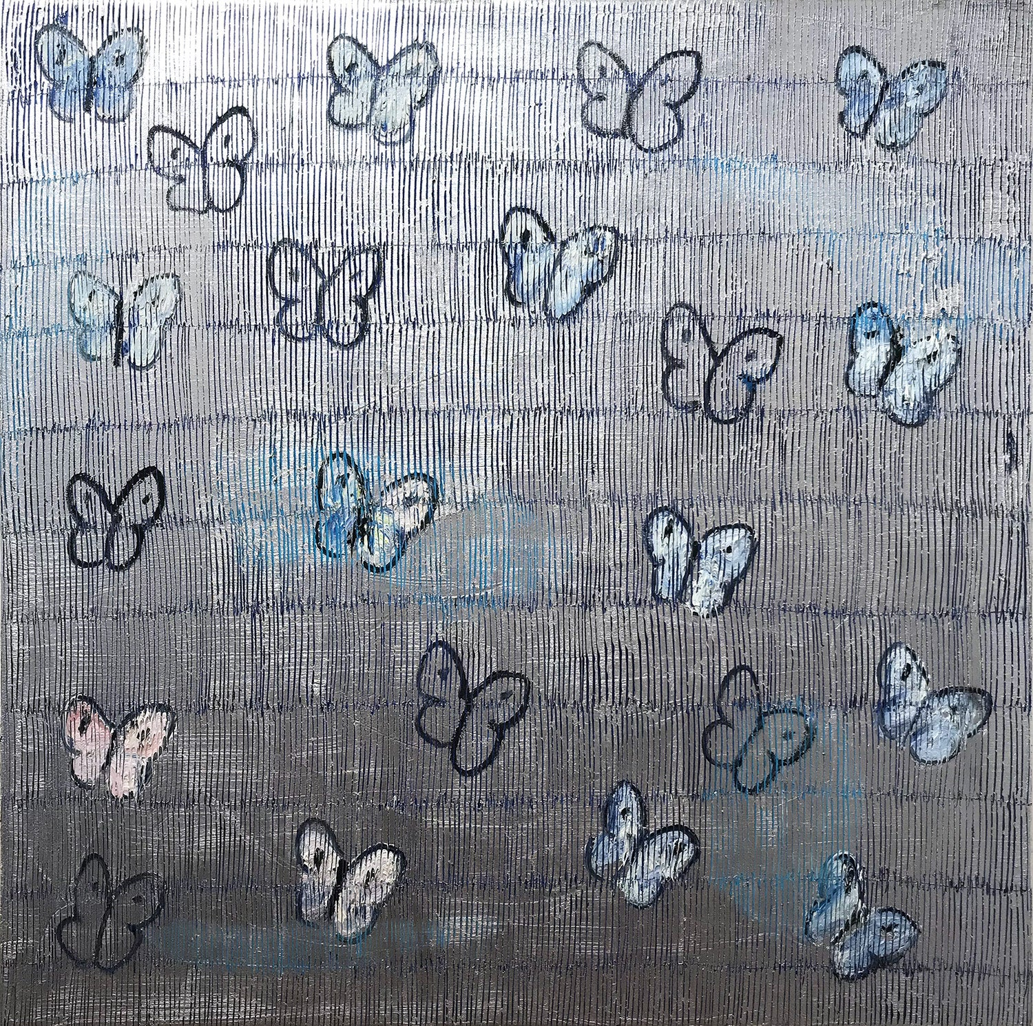"""""""Silverado"""" White and Blue Butterflies with Silver Background Painting on Canvas"""
