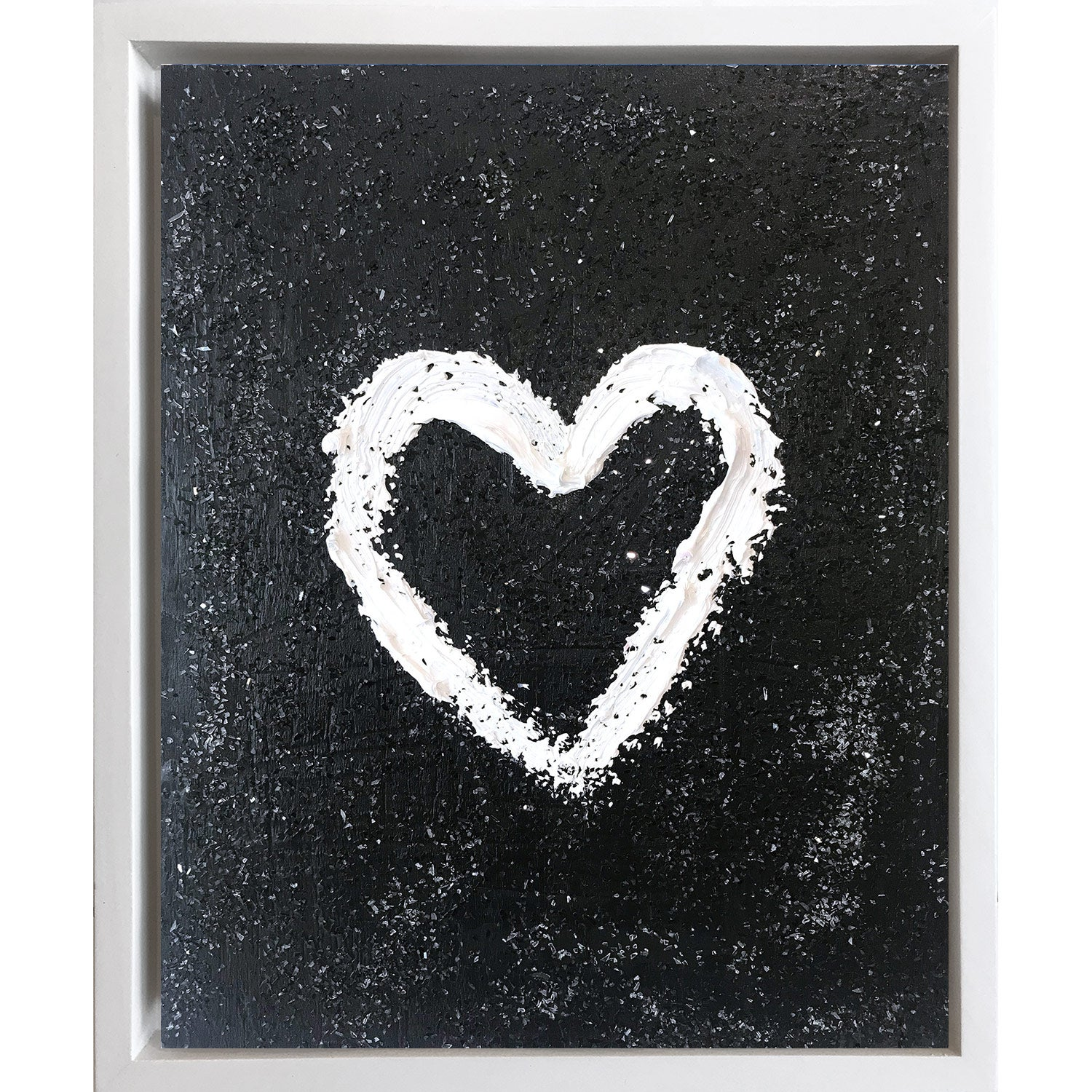 """""""My Heart on Black Diamond"""" Contemporary Oil Painting Framed with Floater Frame"""