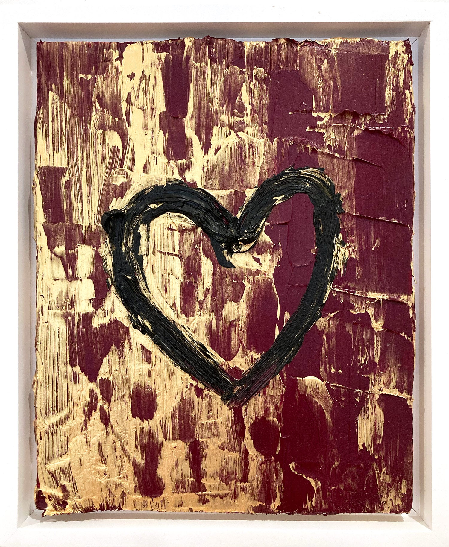 """""""My Ruby Golden Heart"""" Contemporary Oil Painting Framed w Floater Frame"""