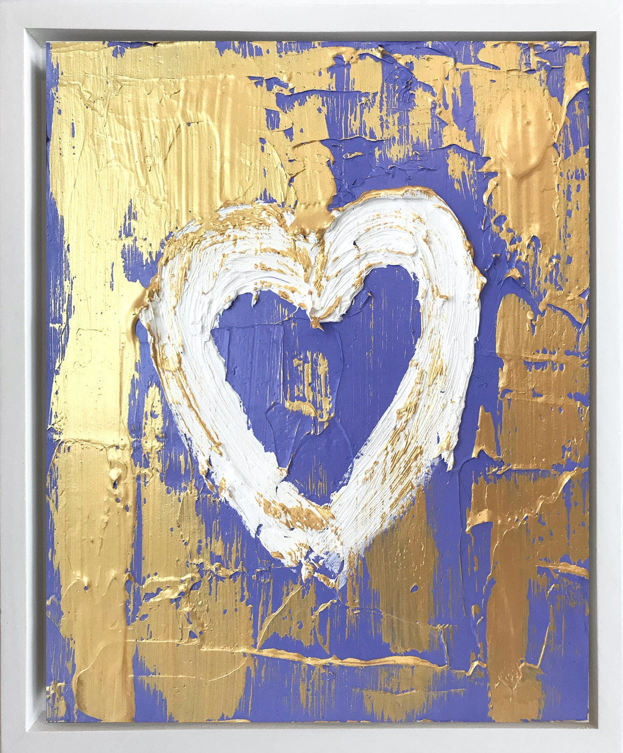 """""""My Lavender Gold Heart"""" Contemporary Oil Painting Framed w Floater Frame"""