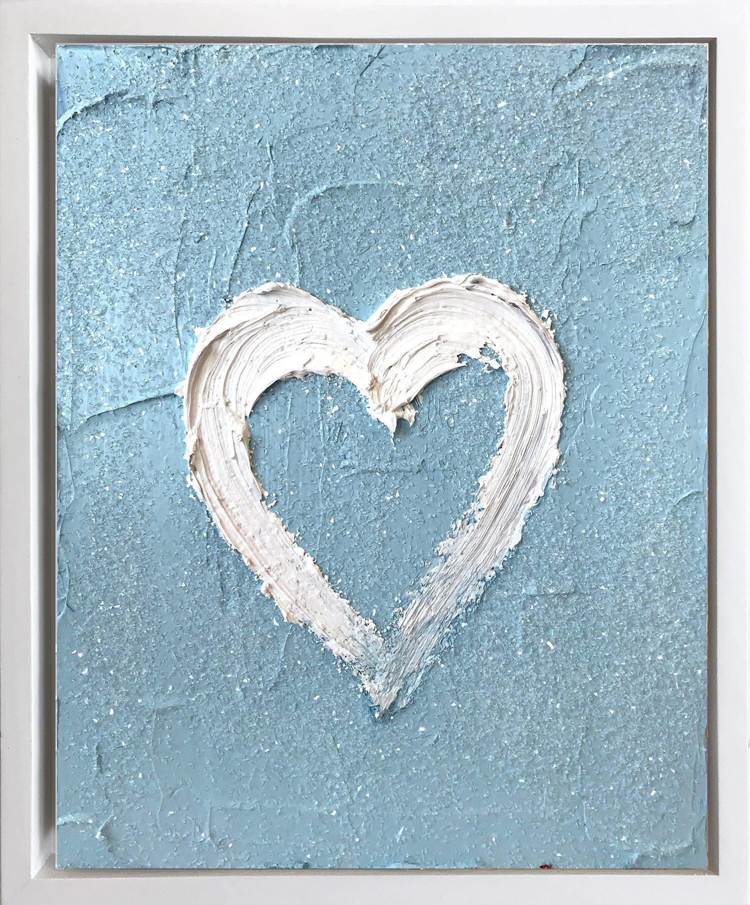 """My Heart on Sky Blue Diamond"" Contemporary Oil Painting Framed w Floater Frame"