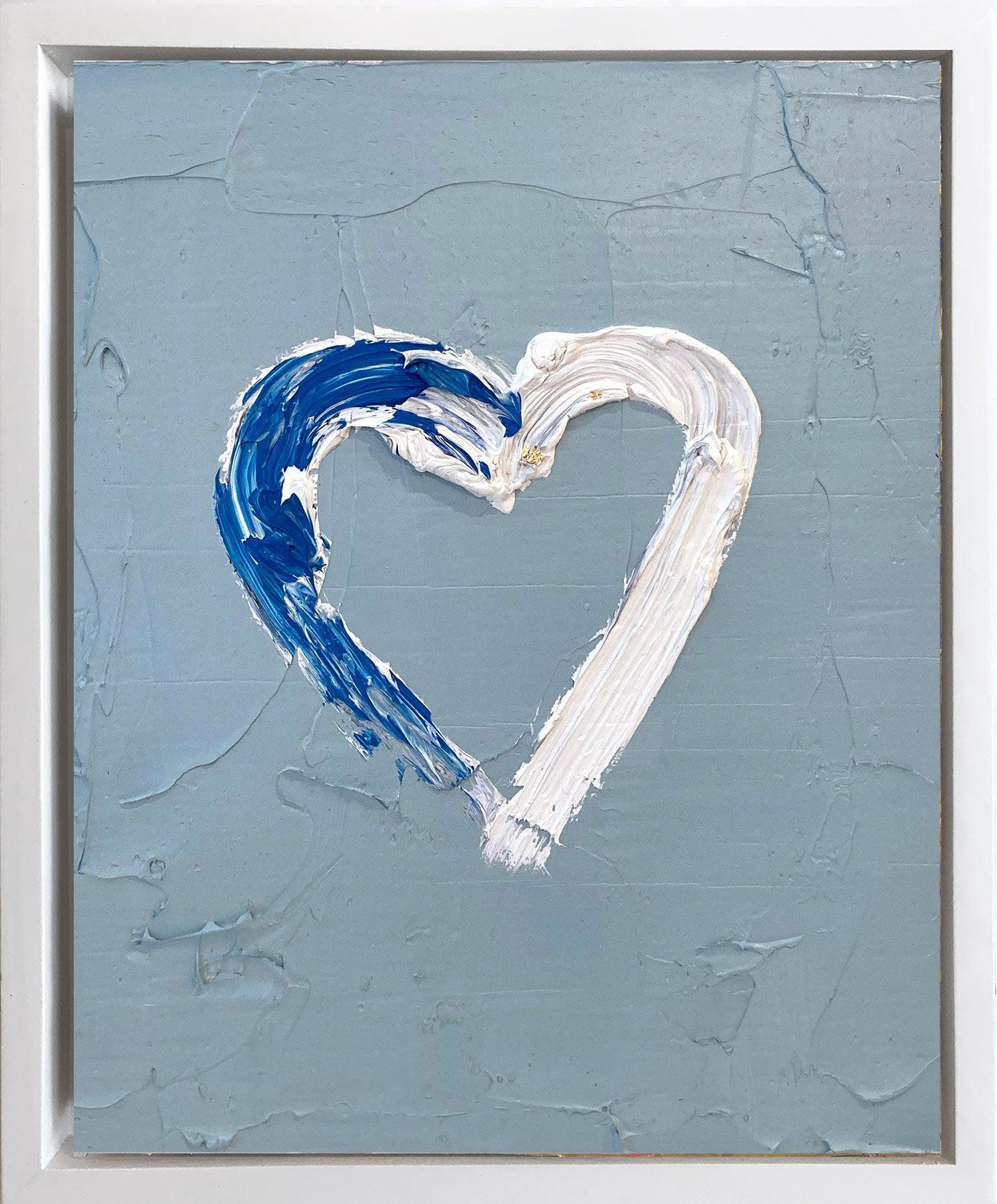 """""""My Heart on Velvet Crush Blue"""" Contemporary Oil Painting Framed Floater Frame"""