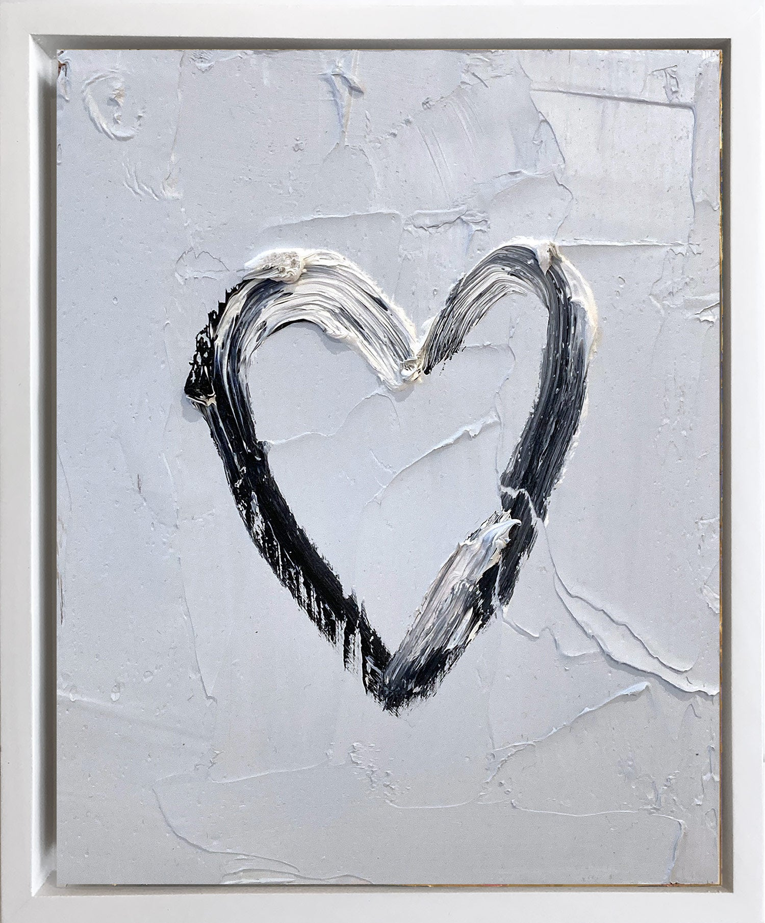 """""""My Heart on Steely Gray"""" Contemporary Oil Painting Framed with Floater Frame"""