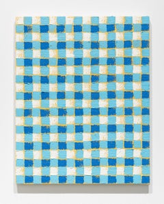 "Michelle Grabner, Untitled, 2017, oil paint on burlap on cradled panel, 20 x 16"""