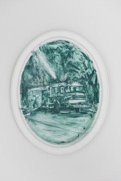 "Julie Green, Hose, 2018, acrylic on Chinet paper platter, 10 x 12.75 x 0.25"""