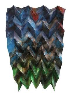 Shiramine, mixed media on folded paper
