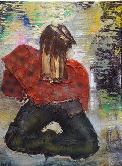 Red Poncho - Eleanor Aldrich - Oil and enamel on canvas