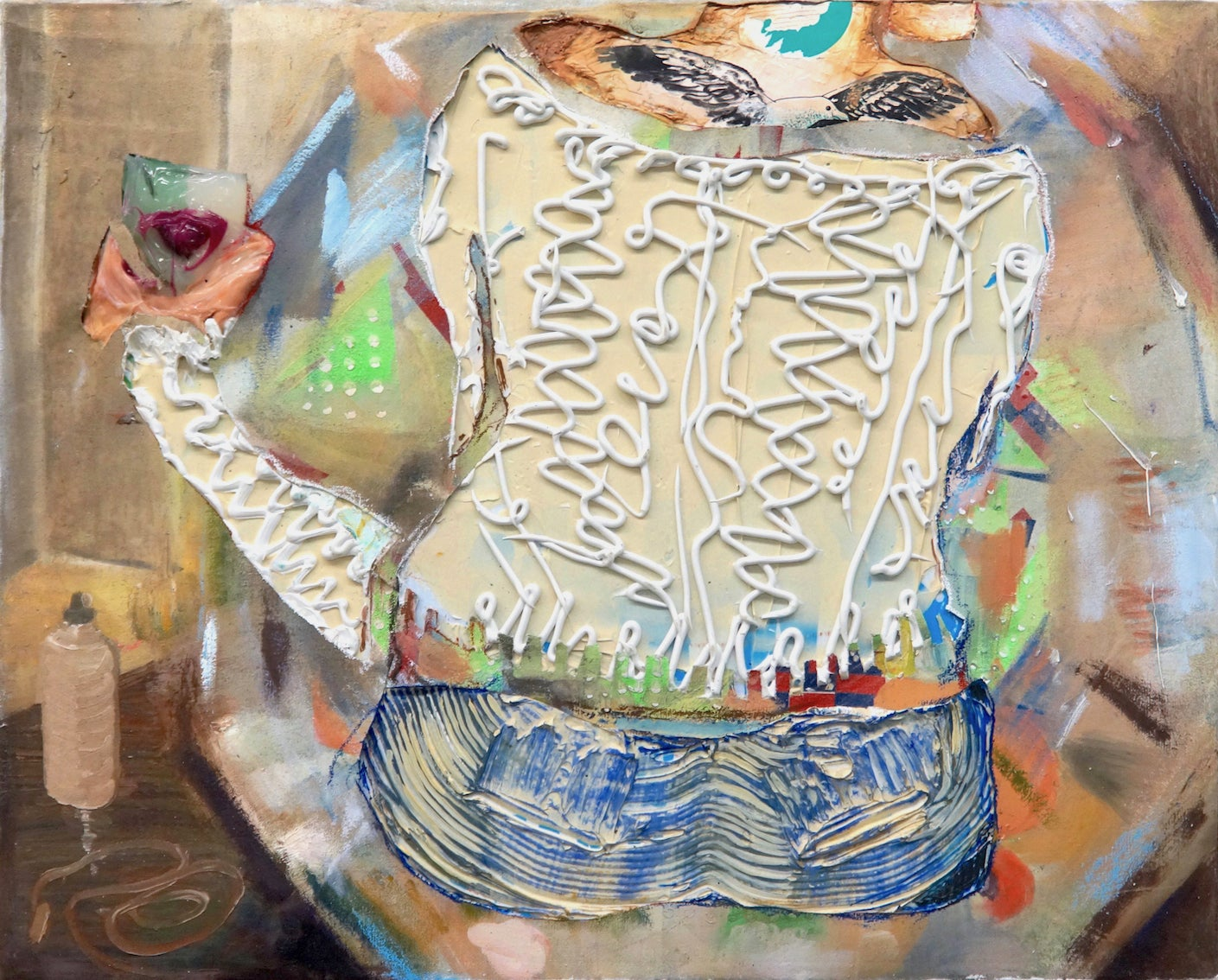 Girl with Seagull Tattoo - abstract figurative, textured painting/mixed media