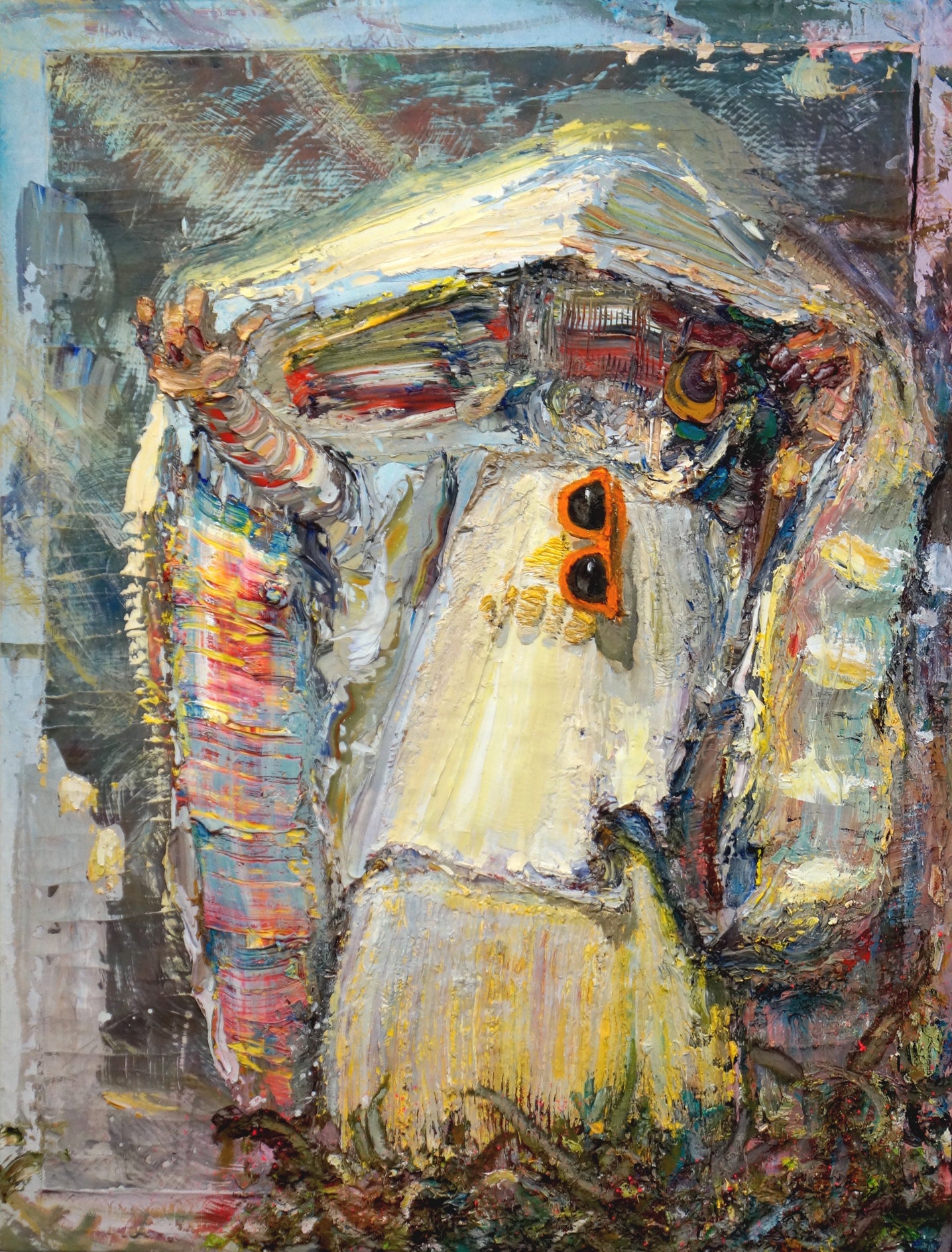 Sunglasses and a Veil (after Sargent)  - Abstract Figurative Painting, textured