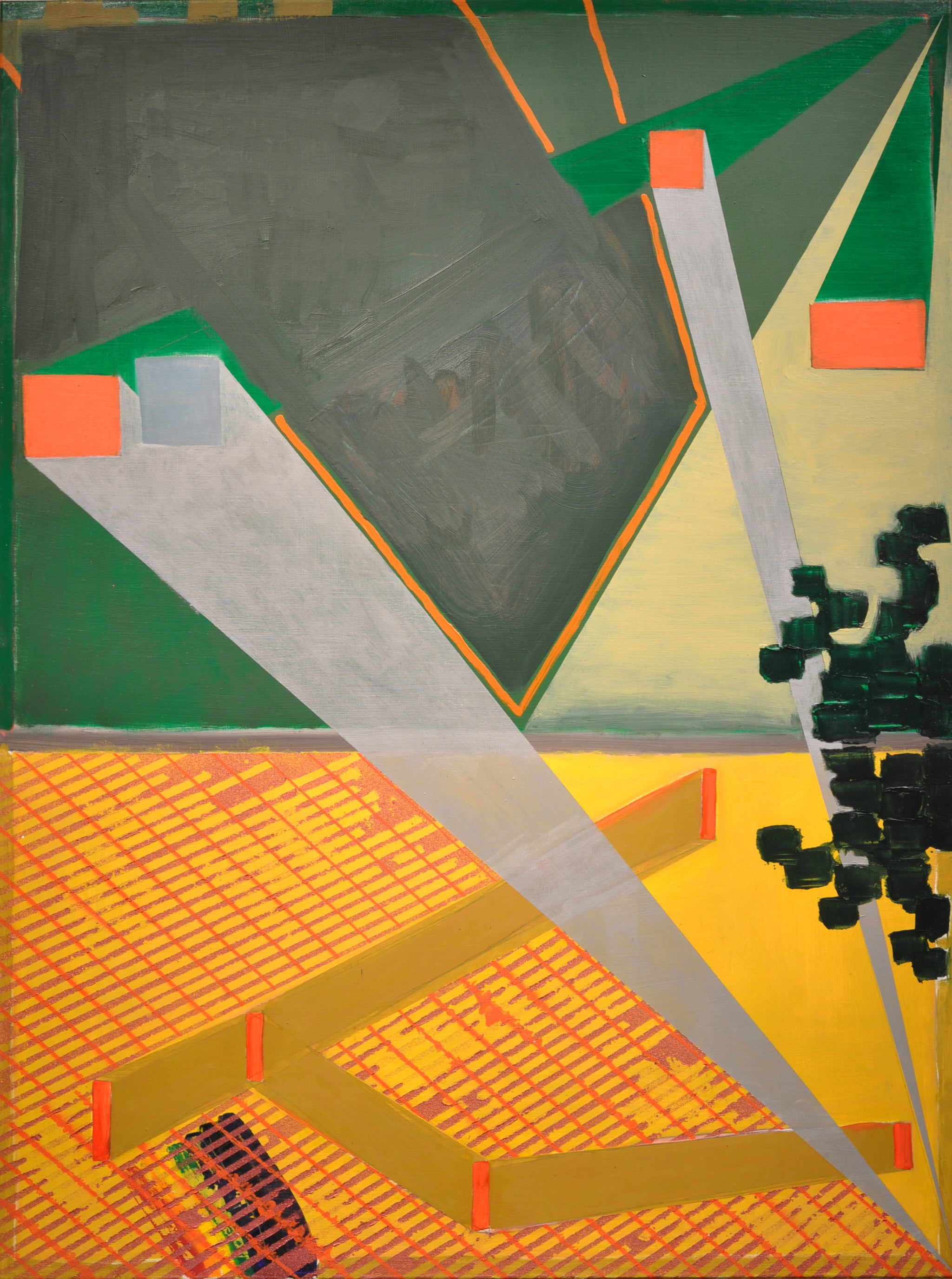 Looking for faith at the party - Contemporary Abstract Painting, geometric