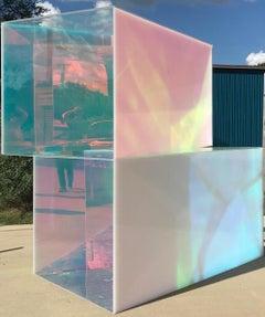 Outdoor Sculpture - Light Refracting - Acrylic & Dichroic Vinyl - Geometric