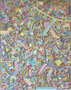 Pastel Tapestry- Textured Contemporary Painting, Candy Color Acrylic Molds