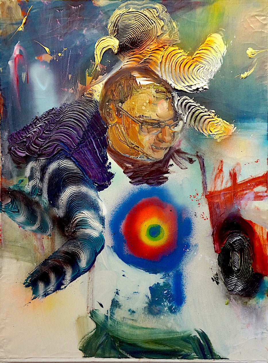 The Abduction - Contemporary Figurative Mixed Media Painting, spray paint, dark
