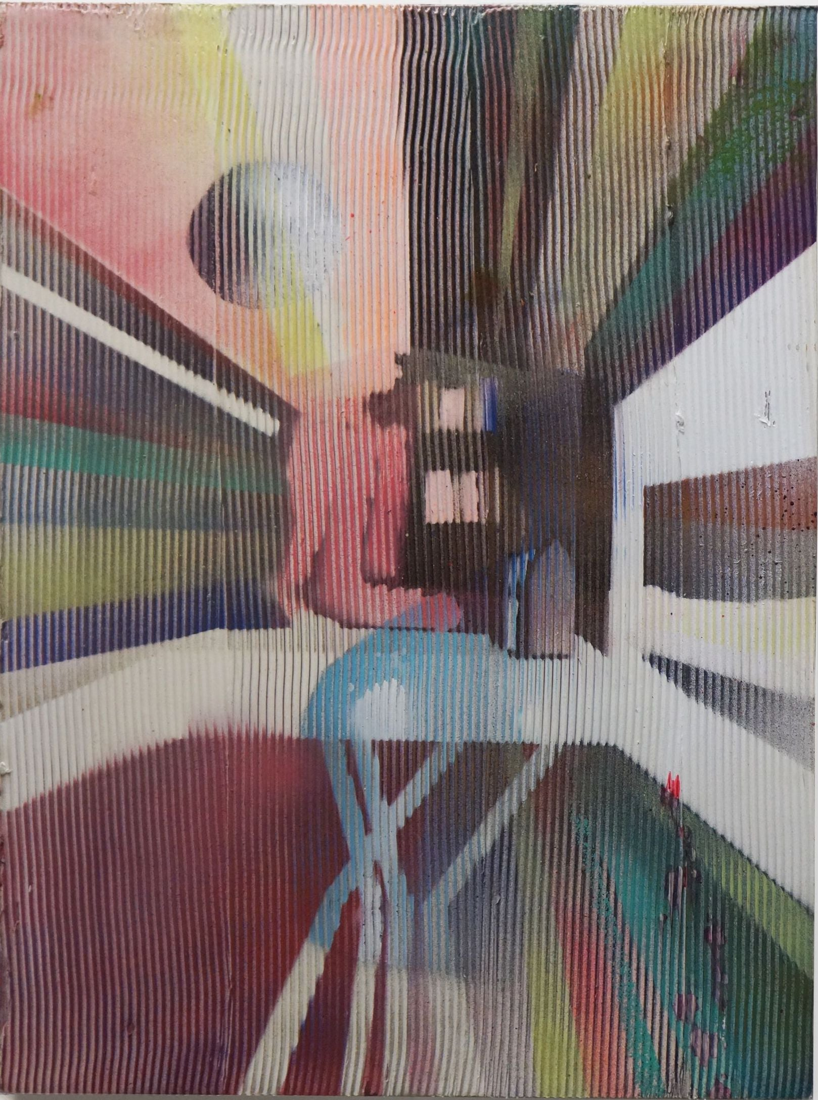 Ironing - texturized lenticular painting, optical illusion, geometric abstract