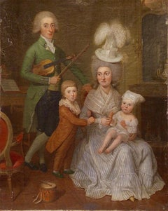 """Antique Baroque painting.  """"The musician family"""" Early 18th century"""