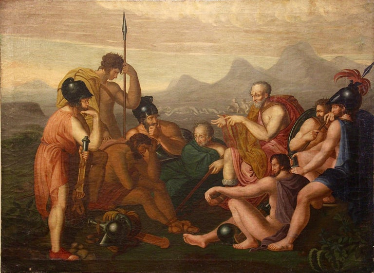 Large, antique painting. 18th century. Greco-Roman war scene. Old masters.