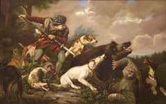 Large, antique oil painting. Oil on canvas. 19th century. Hunting scene.